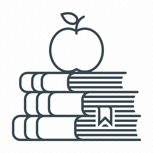 apple, books, education, knowledge, knowledges, learning icon