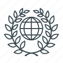 education, globe, laurel, science, wreath, global, planet icon