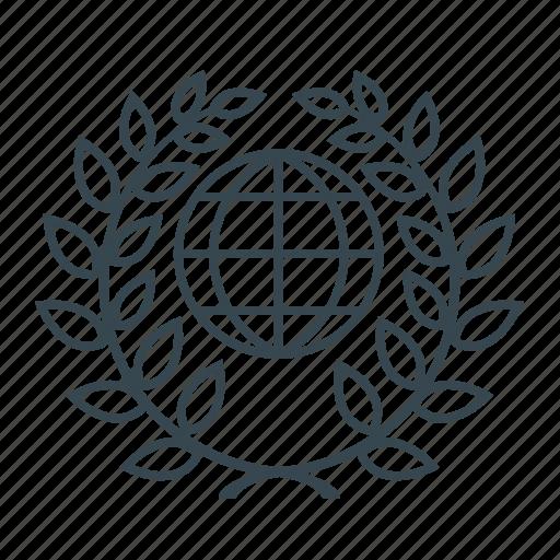 education, global, globe, laurel, planet, science, wreath icon