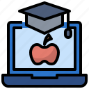 computer, education, learning, mortarboard, student