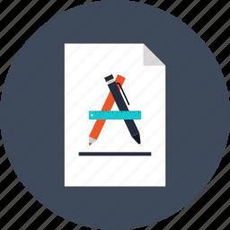 art, design, draw, graphic, paper, pencil, ruler icon