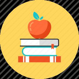 apple, book, education, knowledge, learn, school, study icon