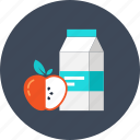 apple, beverage, breakfast, drink, food, juice, milk icon