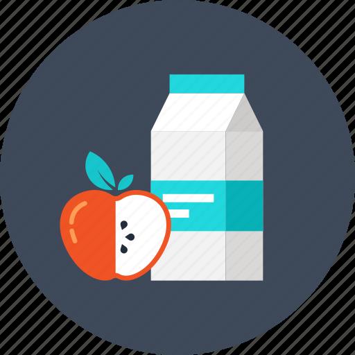 apple, beverage, breakfast, drink, food, juice, milk icon