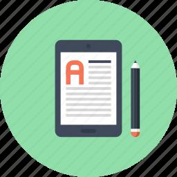 book, digital, ebook, education, electronic, read, tablet icon