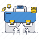 briefcase, business, company, growth, suitcase icon