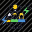 brainstorm, bulb, cooperation, ideas, light, people, team
