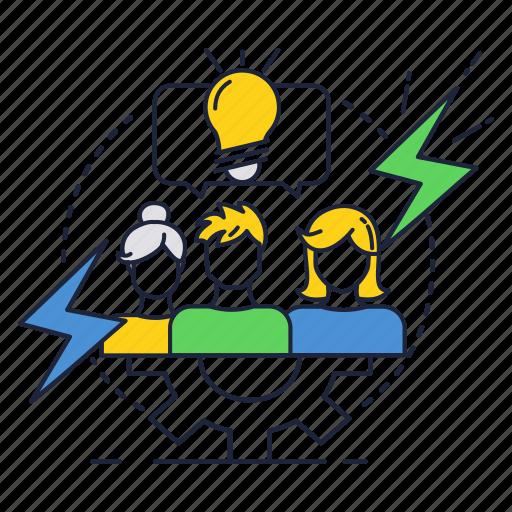 brainstorm, bulb, cooperation, ideas, light, people, team icon