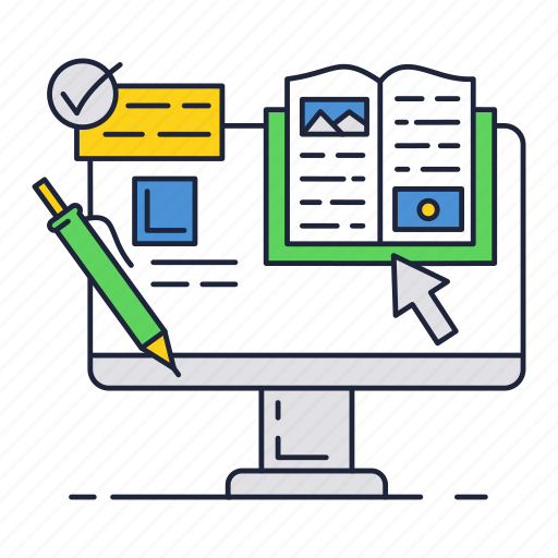 book, computer, course, education, internet, online icon