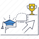 college, cup, education, ladder, steps, top, university icon