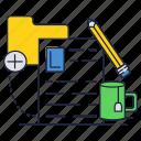 cup, document, file, folder, pencil, tea icon