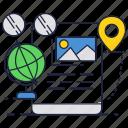 glasses, globe, map, mobile, phone, pin, smartphone icon