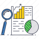 business, chart, document, finance, magnifier, pie, report icon