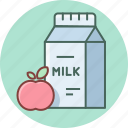 apple, breakfast, drink, fruit, meal, milk, packet icon