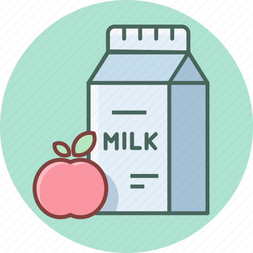 apple, breakfast, drink, fruit, meal, milk, packet icon