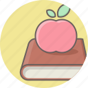 apple, book, education, fruit, learning, reading, school icon