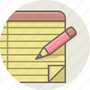 document, edit, note, paper, pencil, write, writing icon