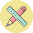 design, draw, measure, pencil, ruler, scale, write icon