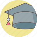 academia, cap, education, graduate, graduation, hat, university icon