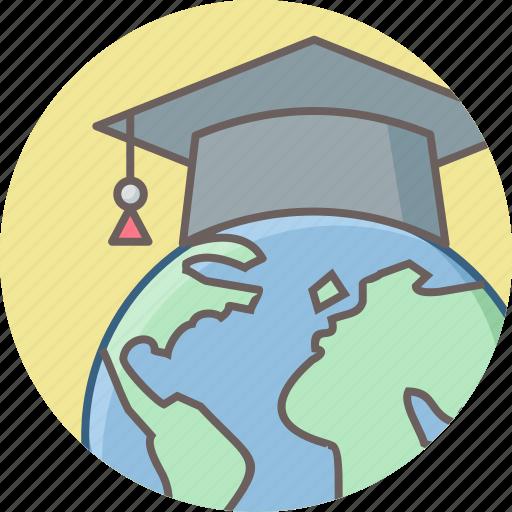 abroad, education, graduate, international, school, study, university icon