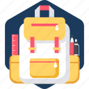 bag, education, learning, school, schooling, study, studying icon