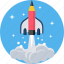 education, launch, learn, learning, missile, schooling, startup icon