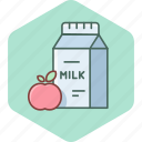 apple, breakfast, food, fruit, health, healthy, milk icon