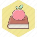 apple, book, education, knowledge, learning, reading, study