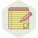 document, note, notes, paper, pencil, write, writing icon