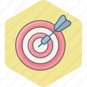 aim, arrow, bullseye, goal, shoot, shooting, target icon