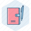 diary, folder, note, office, pen, pencil, write icon