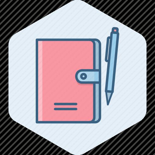 diary, folder, note, office, pen, pencil, write icon