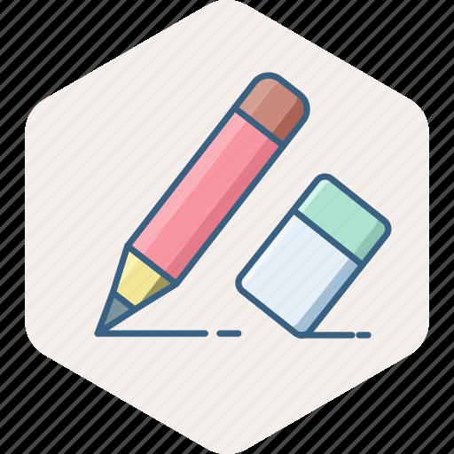 Eraser, pencil, edit, erase, office, stationary, writing icon - Download on Iconfinder