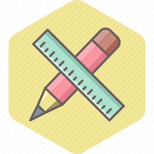 design, pencil, ruler, stationary, stationery, tool, work icon