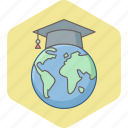 elearning, global, globe, graduate, international, learning, web icon