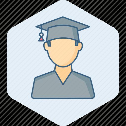 boy, college, education, graduate, graduation, student, university icon