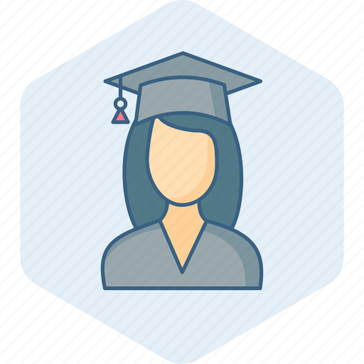 college, education, girl, graduate, graduation, student, university icon