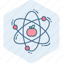 apple, atom, molecule, nuclear, physics, power, science icon