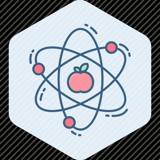 apple, atom, molecule, nuclear, physics, power, science icon
