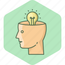 bulb, human, idea, innovation, light, user icon