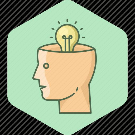 bulb, human, idea, innovation, light, user icon