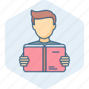book, boy, education, learning, reading, student, study icon