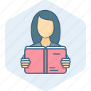 book, education, girl, learning, reading, student, study icon