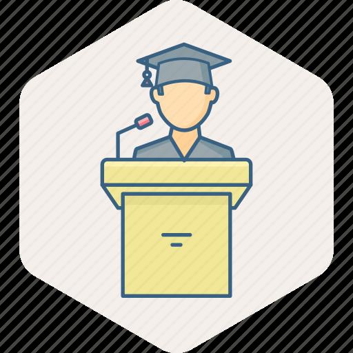 communication, education, graduate, speech, student, talk icon