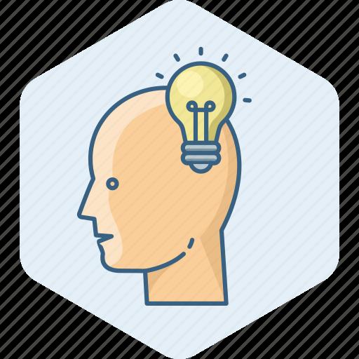 brain, bulb, creative, electric, electricity, energy, human icon