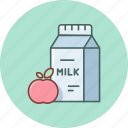 apple, breakfast, fresh, fruit, healthy, milk, recipe icon
