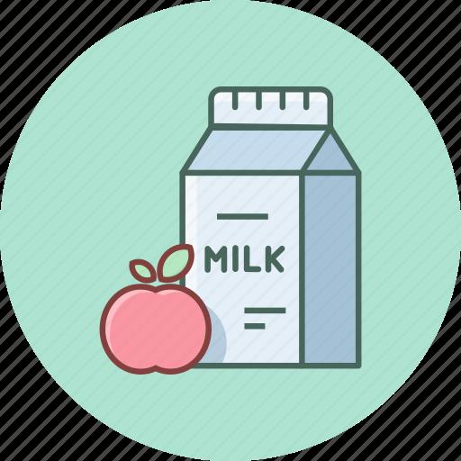apple, breakfast, fresh, fruit, healthy, milk, recipe icon