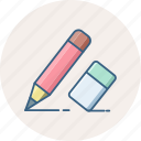 draw, edit, editing, eraser, pencil, write, writing icon