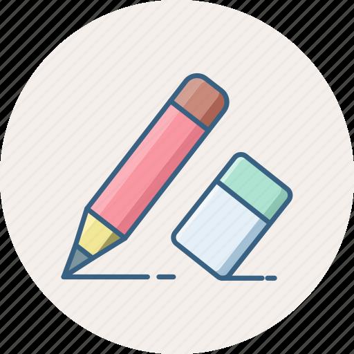 draw, edit, editing, eraser, pencil, write, writing icon