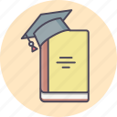 book, cap, education, hat, knowledge, learning, study icon